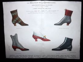 Le Moniteur de la Cordonnerie 1889 Rare Hand Colored Shoe Design Print 65